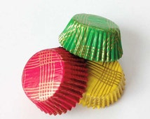 Jewel Mini Cupcake Liners, Gold Plaid Bake Cups (45), Glassine Liners for Cake Pops Hors d'oeuvres Candy, Fuchsia Hot Pink Green Yellow