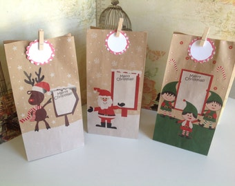 Christmas wrapping kit, large christmas paper bags, pegs and tags, jute twine, 3 designs available