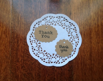 50 Scallop circle thank you tags, thank you tags, kraft gift tags, hand stamped tags,