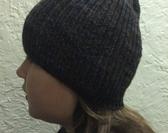 Dark Multicolored Hat Hand Knitted Hat