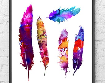 Feather art print, watercolor painting, home wall art - 331