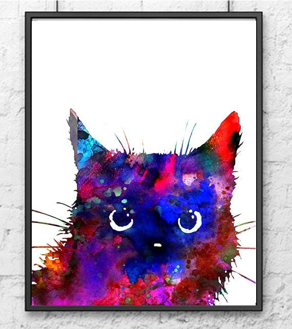 Colorful cat art print modern art watercolor painting print