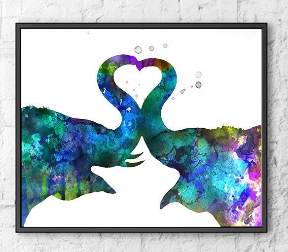 Love Art Watercolor Elephant Painting Animal Wall by ... - photo#31