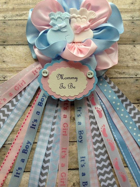 pink and blue mommy to be corsage twins baby shower corsage gender reveal mom badge twins mom corsage from on etsy studio