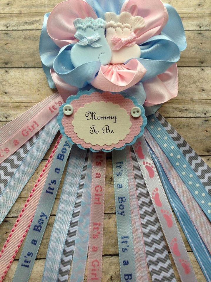 pink and blue mommy to be corsage twins baby shower corsage