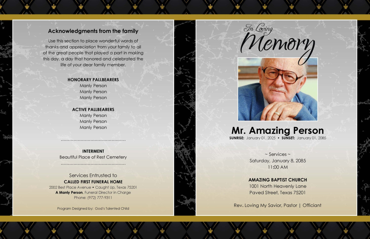 Obituary Program  Free Memorial Program Templates