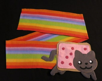 Nyan Cat rainbow fleece scarf