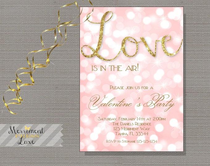 Valentine's day invitation, bokeh pink invitation, bridal shower, gold glitter, blush-Genevieve Collection
