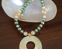 Green freshwater pearl and ivory mother-of-pearl necklace