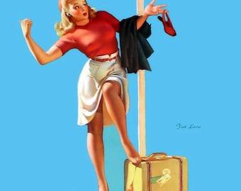 "Elvgren Vintage Pin Up girl 1942 ""Foot Loose"" 10x12 Art Print"