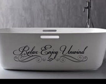 relax enjoy unwind wall decal wall art vinyl sticker home decor for bathroom shower door toilet