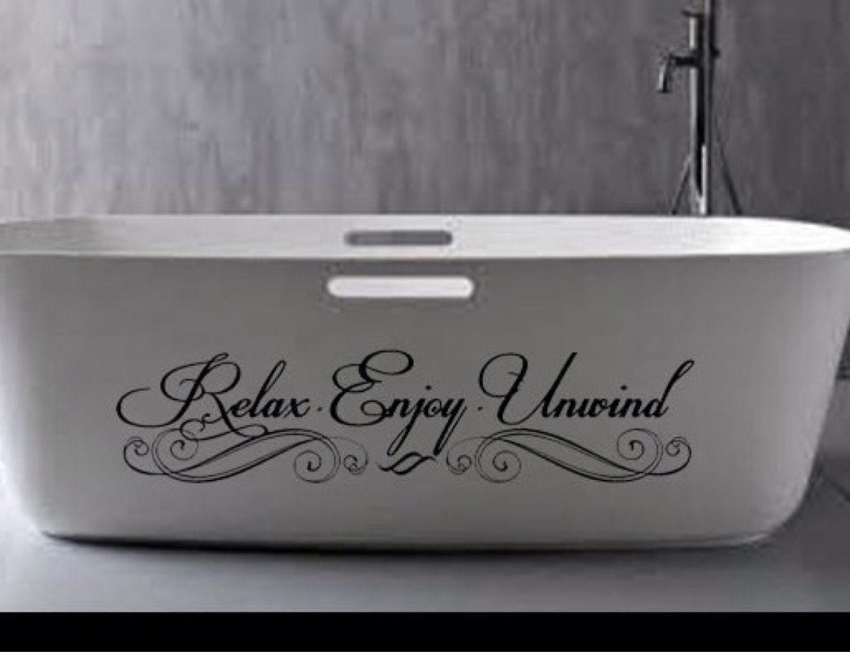 Relax enjoy unwind wall decal wall art vinyl sticker home for Bathroom vinyl decor