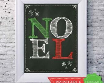 NOEL Christmas Chalkboard Art Print 8 x 10 - PRINTABLE