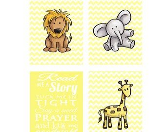 Kiss Me Goodnight Giraffe Lion Elephant Jungle Animals Read Me A Story Tuck Me In Tight Chevron Yellow Nursery Room Decor Wall art 4 prints