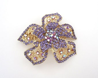 Crystal Flower Hair Accessory Barrette Clip Gold Tone Periwinkle Purple