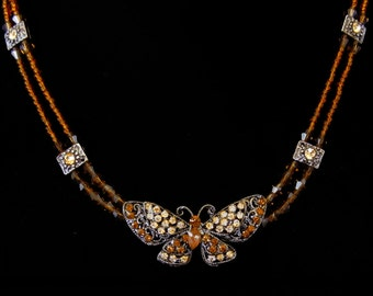 Crystal Butterfly With Brown Beads Beaded Chain Choker Necklace Amber Topaz Brown