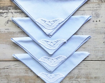 Handmade Powder Blue Fabric Napkins + Crochet Lace Detail // Set of 4