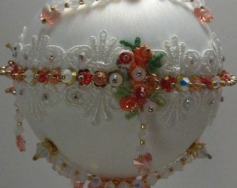 Snow Butterflies - Victorian theme - A Finished Hand Made Beaded Satin Ornament With Crystals