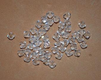 25 - 3mm Genuine Swarovski Crystal Bicone Beads - Clear