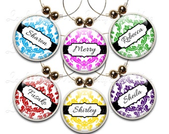 Personalized Wine Charms, Wine Gift, Custom Wine Charms, Wine Jewelry, Custom Wine Glass Charm, Damask Wine Charms, Demask, Wine Accessory