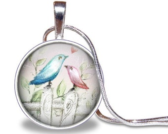 Bird Necklace, Birdie Necklace, Bird Pendant, Pastel Jewelry, Round Necklace, Silver Plated, Glass, Necklace Included, Bird Jewelry