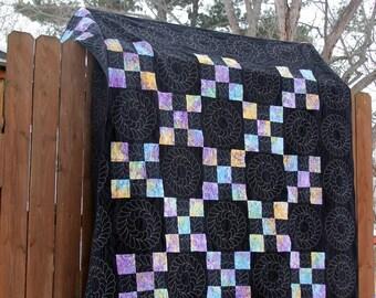 Rainbow Patchwork Quilt / Black Quilt / Lap Quilt