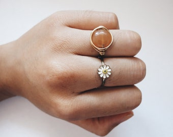 Peach Tone Gold Wire Wrapped Ring