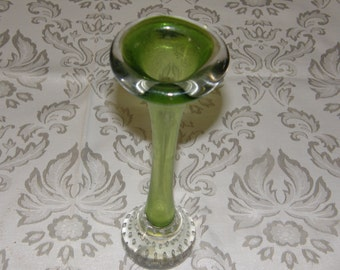 Aseda Scandinavian Green Glass Jack In Pulpit Controlled Bubble Bud Vase