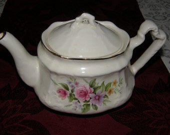 Arthur Wood & Son Staffordshire England China Teapot Pink Rose Floral Pattern