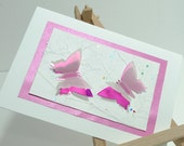 Handmade blank card Recycled Butterfly Mirror Pink Birthday Mothers Day Spring Wedding Bridesmaid Thank you Friend Any occasion Baby girl