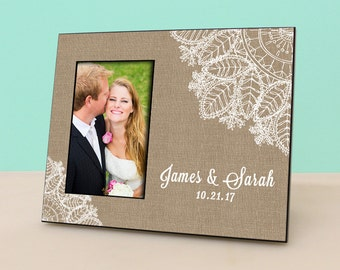 Personalized Wedding Frame - Burlap & Lace - Anniversary -Personalized Picture Frame - Photo Frame Wedding Gift - Bridal Shower Gift- PF1009