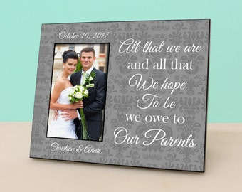 Parents Wedding Gift- Personalized Picture Frame - Wedding Damask Photo Frame Personalized - In Laws Gift - Parents Thank You Gift - PF1019