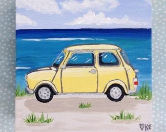 Beach decor Mini Cooper art beach canvas art classic car decor