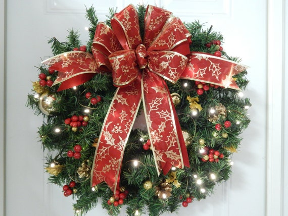 christmas wreath lighted wreathartificial led battery. Black Bedroom Furniture Sets. Home Design Ideas