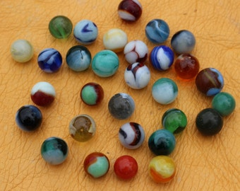 Lot of 30 Vintage Marbles - Slag, Silver Oxblood, Moss Agate, Zebras, Yellow Electric