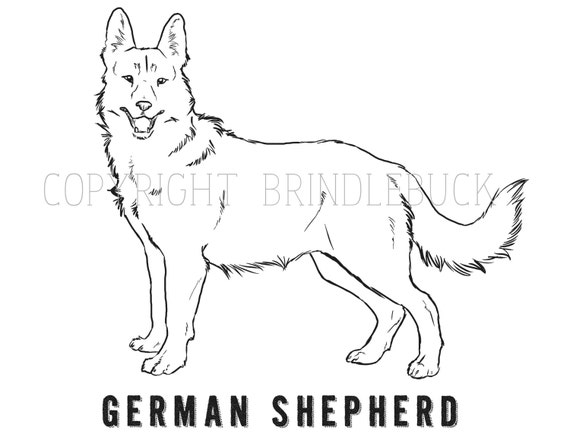 items similar to german shepherd dog coloring page child art adult coloring project on etsy - German Shepherd Coloring Page