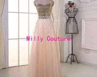 Long tulle prom dress, tulle evening dress, long tulle wedding dress romantic