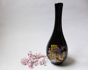 SALE: Glossy Black Asian Bottle Bud Vase  ~ Vintage Decor ~ 1980s Asian Decor ~ Retro Decor ~ Japan