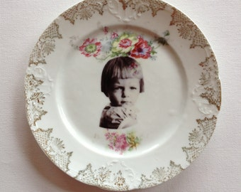 feisty - altered vintage plate