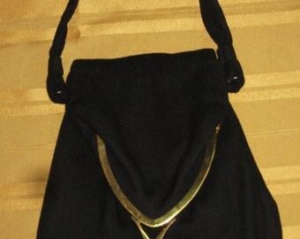 Vintage Ingber Fold Over Black Virgin Wool and Cashmaere Formal Purse