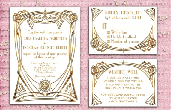 Great Gatsby Style Art Deco Wedding Invitation Suite with RSVP