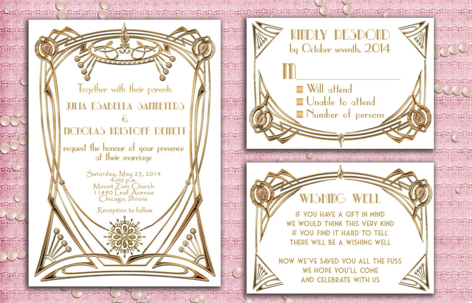 Great Gatsby Style Art Deco Wedding Invitation Suite with RSVP Card ...
