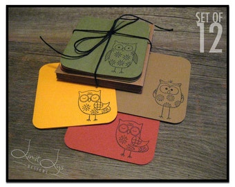 Owl 3x3 Cards, Mini Owl Notecards, 3 x 3 Cards with Envelopes, Small Note Cards with Envelopes, Tiny Cards Stamped, Gift Enclosure Set of 12