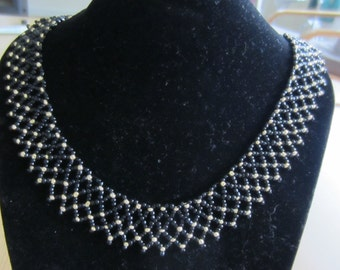 Black and Gold Netted Seed Bead Necklace