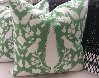 "Schumacher ""CHENONCEAU"" Pillow Cover in Aloe Green and White Linen"