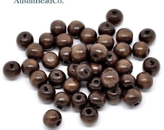 50pcs Wood Beads, Round, Dark Brown, Glossy, Lightweight Bead, Wooden Bead, Natural, Eco-Friendly Bead,  Size 10mm X 9mm (L014)