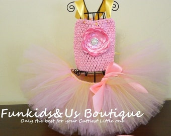 Baby Girl Pink and Gold Tutu set- Pink gold Tutu with matching headband and top-Birthday Tutu Dress Outfit,