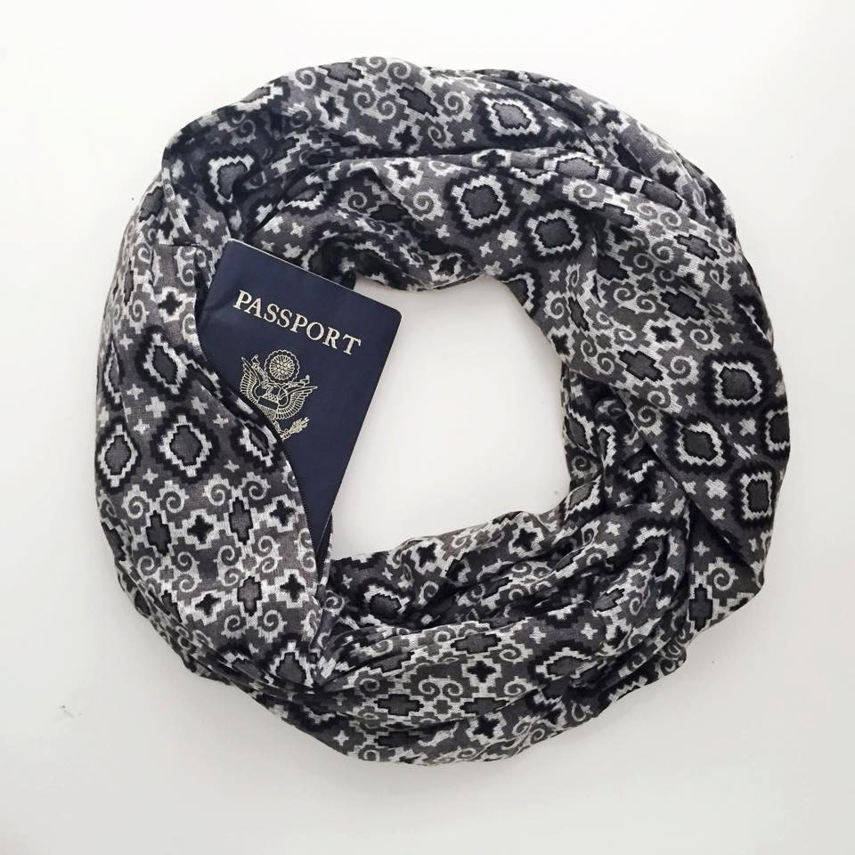 Ready to ship tuileries scarf w hidden pocket travel for Travel scarf