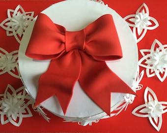 Red bow gum paste fondant for birthday cake