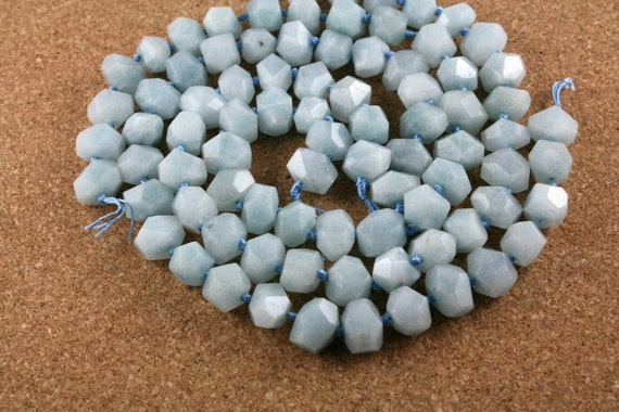 Aqua Stone Nugget Beads Light Blue Faceted Opaque Shiny